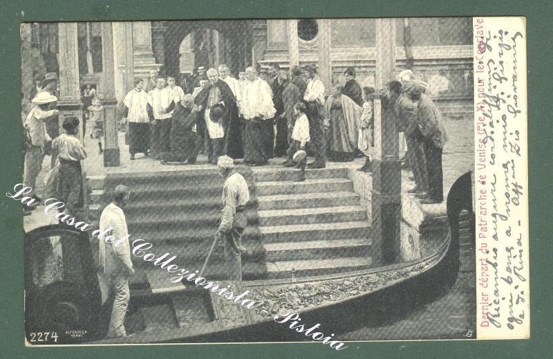 PIO X, Venezia. Partenza per il conclave del patriarca di Venezia. Cartolina d'epoca viaggiata.