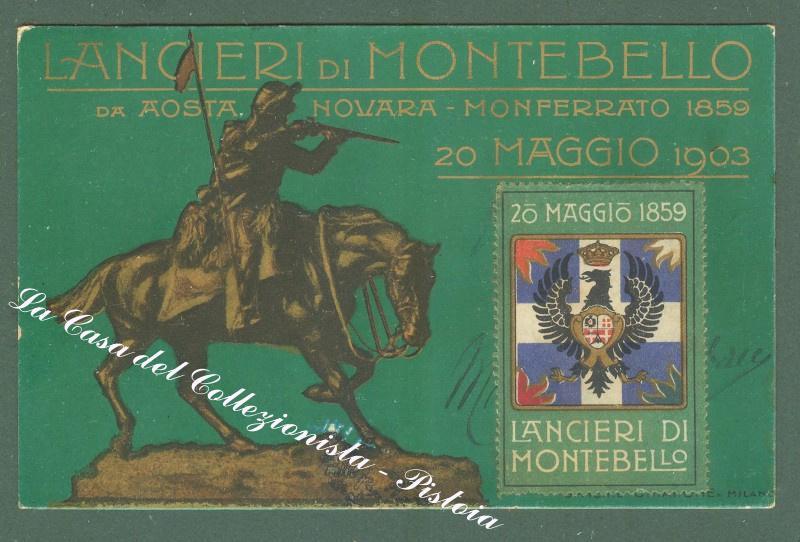 LANCIERI DI MONTEBELLO. 20 MAGGIO 1903. Cartolina d'epoca militare reggiamentale.