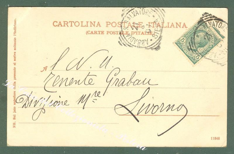Toscana. ABBADIA S. SALVATORE, Siena. Cartolina d'epoca viaggiata