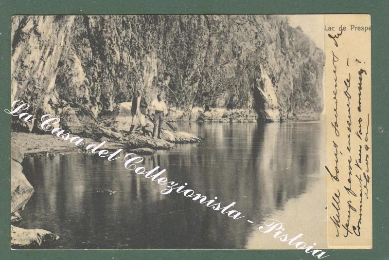 ALBANIA. Lago di Prespa. Cartolina d'epoca viaggiata.