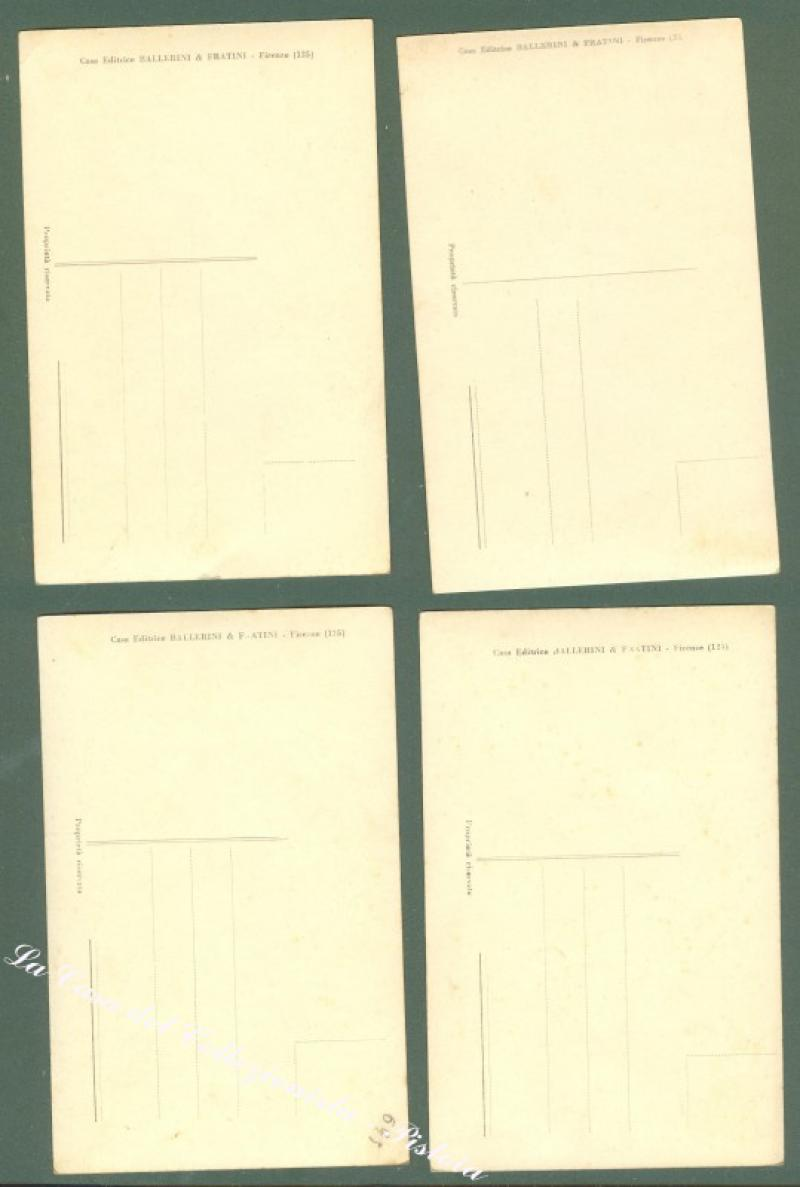 MUSSOLINI. Quattro cartoline d'epoca edite da Ballerini e Fratini