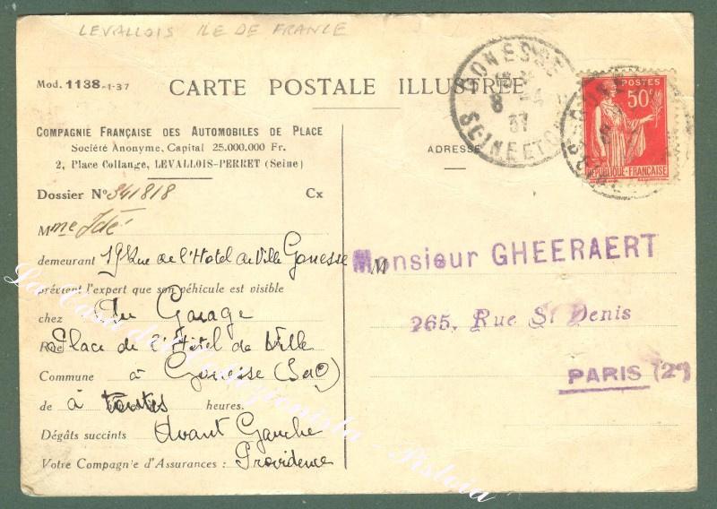 FRANCIA, LEVALLOIS, ILE DE FRANCE. Vue d'un Garage. Cartolina d'epoca viaggiata