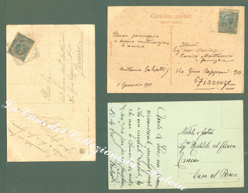 Toscana. COLLE VAL D'ELSA, Siena. Tre cartoline d'epoca viaggate
