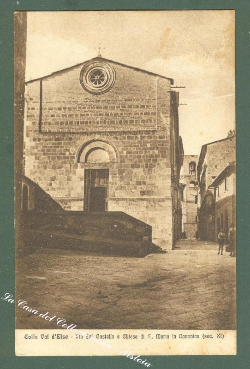 Toscana. COLLE VAL D'ELSA, Siena. Via del Castello. Cartolina d'epoca viaggiata.