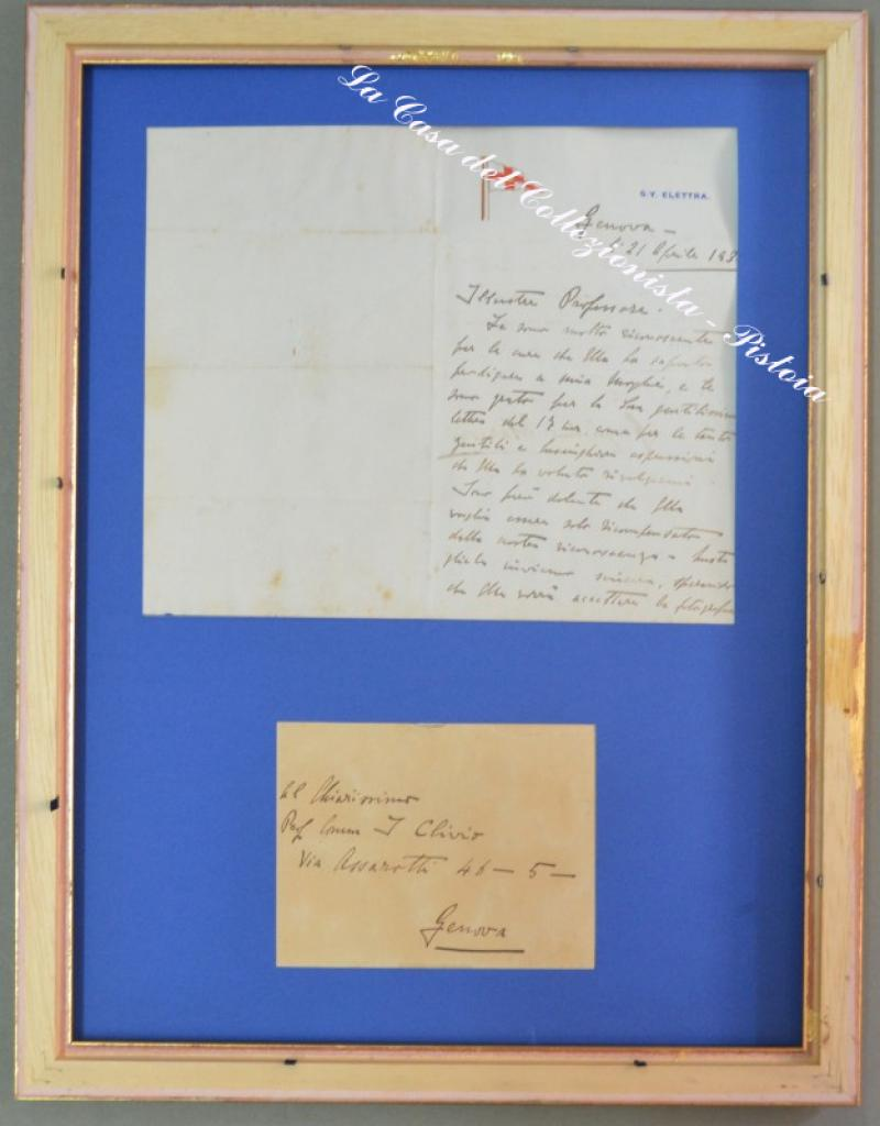 MARCONI GUGLIELMO. Scienziato italiano (1874 - 1937). Lettera da Genova al Professor Innocente Clivio...19 righe autografe e sua firma.