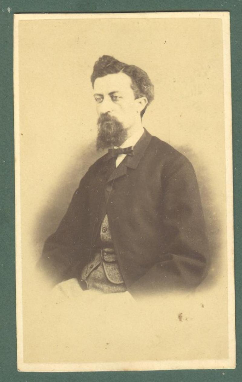 SANGIORGI FILIPPO (Roma 1831 - 1901). Compositore italiano. Foto cm 6x10, con dedica autografa e firma