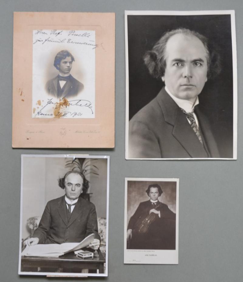 KUBELIK JAN (Praga 1880 - 1940). Violinista e compositore cecoslovacco. 3 fotografie, una con dedica e firma autografa...