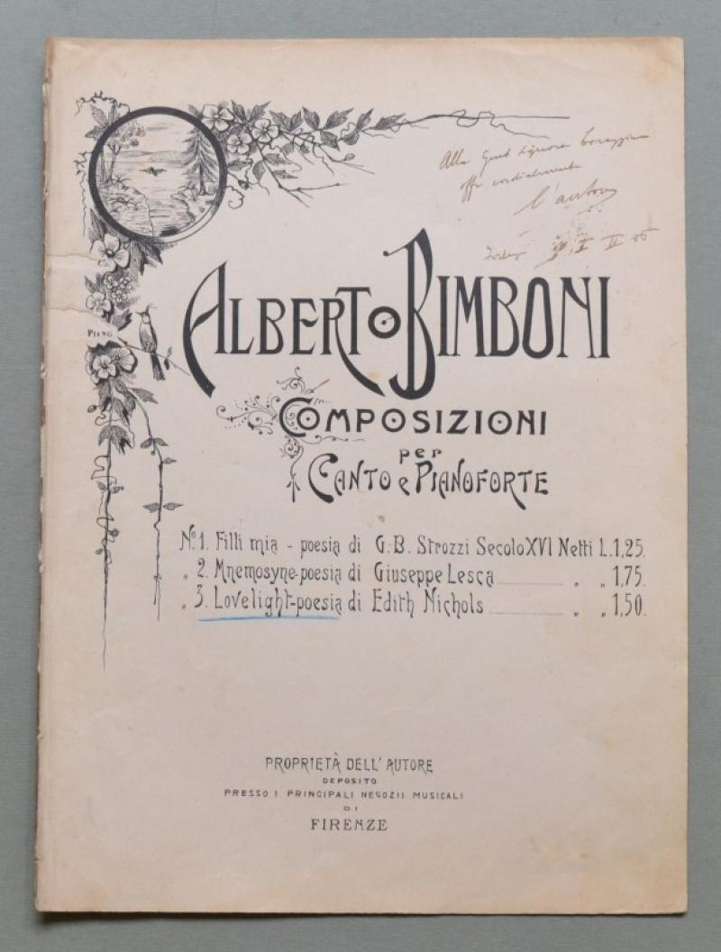 BIMBONI ALBERTO (1882 - 1960). Compositore e direttore d'orchestra. Dedica autografa datata Firenze 1 Febbraio 1906...