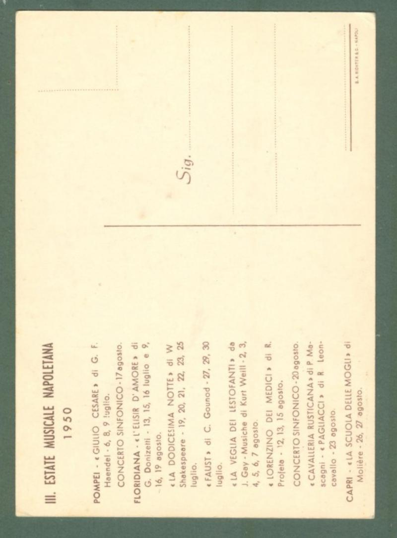 ESTATE MUSICALE NAPOLETANA 1950. Cartolina d'epoca non viaggiata