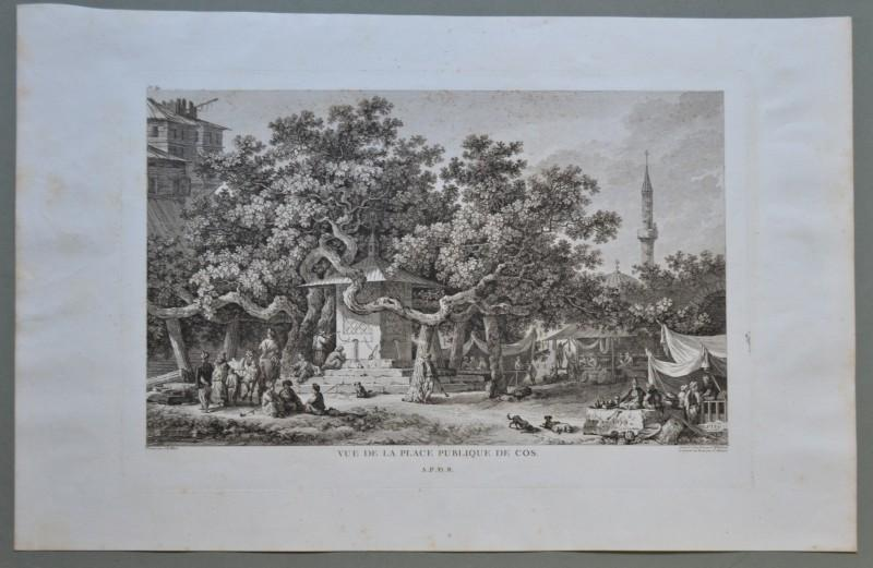 "ISOLA DI COS, GRECIA, GREECE. ""VUE DE LA PLACE PUBLIQUE DE COS"". Gouffier 1782"
