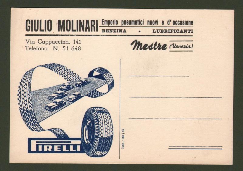 Veneto. MESTRE, Venezia. Cartolina pubblicitaria PIRELLI dell'emporio Molinari