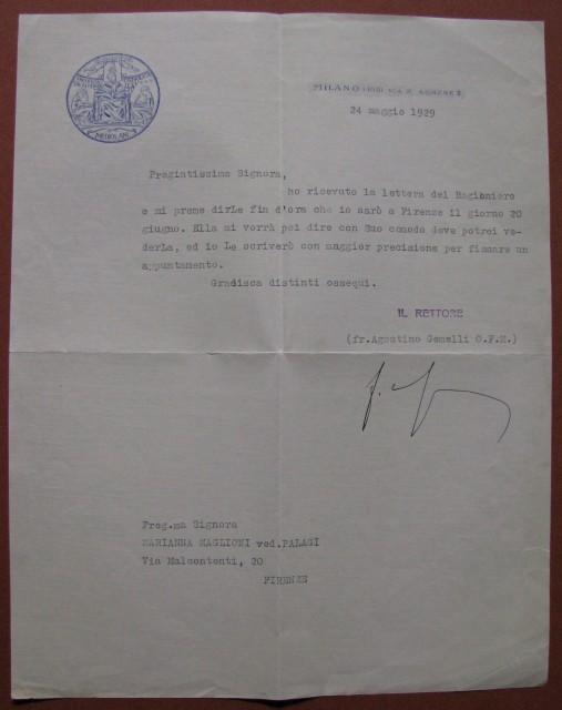 GEMELLI AGOSTINO, al secolo Edoardo Gemelli (Milano 1878 '– 1959). Medico, psicologo, frate francescano, fondatore e rettore dell'Univ. Cattolica del sacro Cuore di Milano.