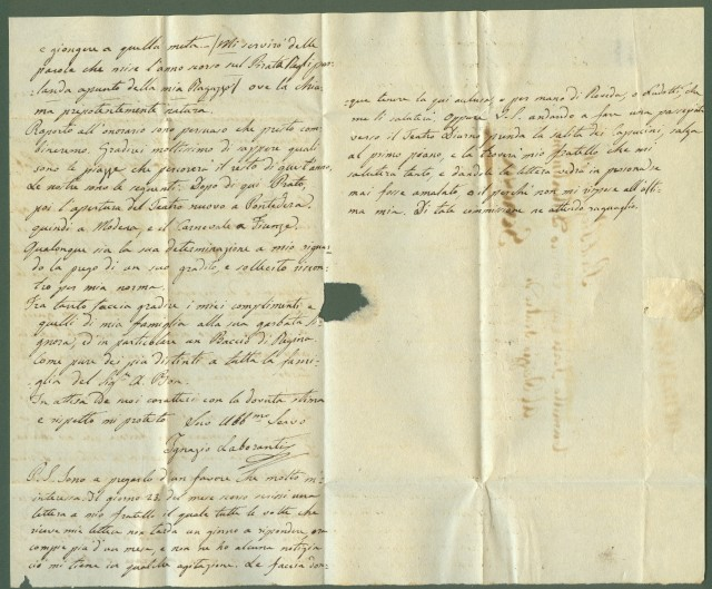 TEATRO. Lettera da Pisa del 26 luglio 1840 scritta dall'attore Ignazio Laboranti al capocomico Camillo Ferri a Genova.