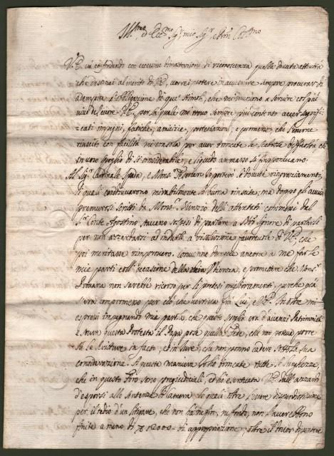 OLGIATI GIUSEPPE (Milano - Como 1736). Fu vescovo di Parma e di Como. Lettera da Roma del 16 agosto 1692 indirizzata al Presidente del Senato in Torino.