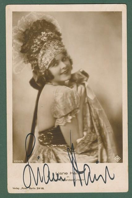 HAID LIANE (Vienna 1895 - Berna 2000). Attrice cinematografica fra le pinote del cinema tedesco. Firma autografa,  Circa 1930.