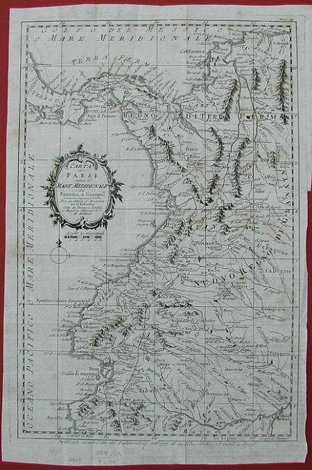 Carta dei paesi sopra il mare meridionale da Panama a Guayquil per la storia d''America del Dr. Robertson. Fatta da Tommasso Kitchin