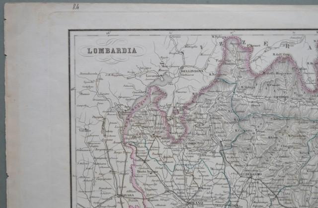 LOMBARDIA. Carta geografica, confini acquarellati.
