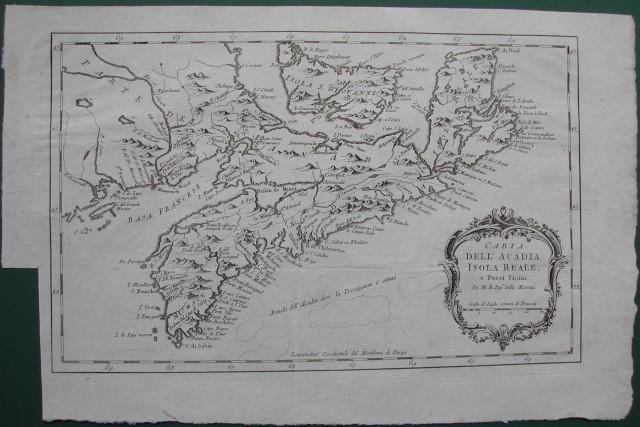 Carta dell'Acadia, Isola Reale, e paesi vicini