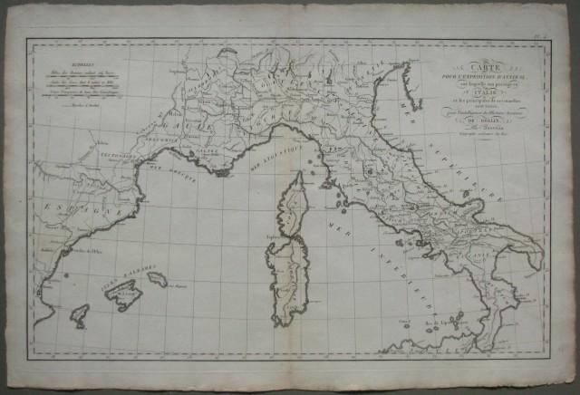 ITALIA. Carte pour l'expedition d'Annibal, sur laquelle son passage en Italie