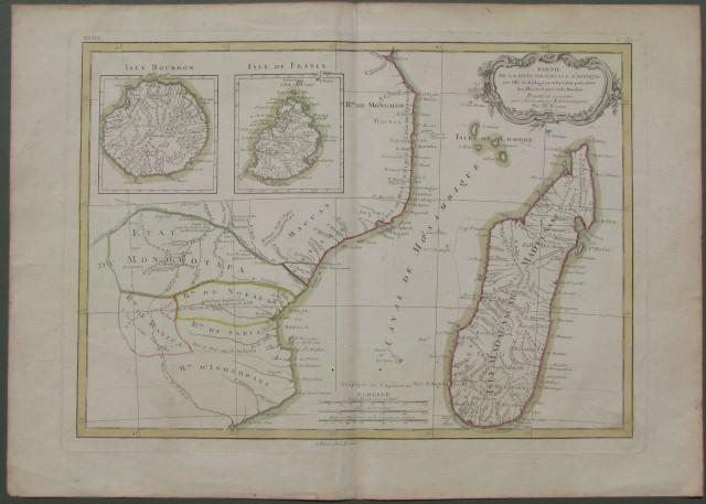 AFRICA. Partie de la cote orientale d'Afrique avec l'isle de Madagascar et les cartes particulieres des isles de France et de Bourbon