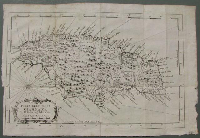 AMERICA - GIAMAICA. Carta dell'isola Giammaica di M.r. Bellin