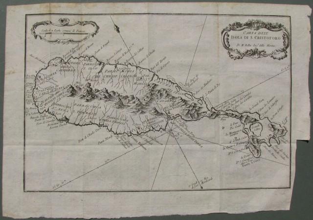 AMERICA - MARE DEI CARAIBI. Carta dell'isola di S. Cristoforo di Mr. Bellin