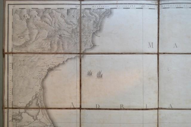 PUGLIA. Foglio numero 12 dell''Atlante Geografico del Regno di Napoli di Antonio Rizzi Zannoni edito tra il 1789 ed il 1808 e composto da 13 fogli incisi da Giuseppe Guerri. Grande carta composta da 16 pezzi.