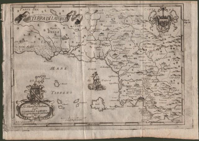 TERRA DI LAVORO, Campania. Bella carta geografica raffigurante la costa dalle paludi Pontine al golfo di Napoli con le isole (Ponziani e Ischia) e l''entroterra fino al Molise.