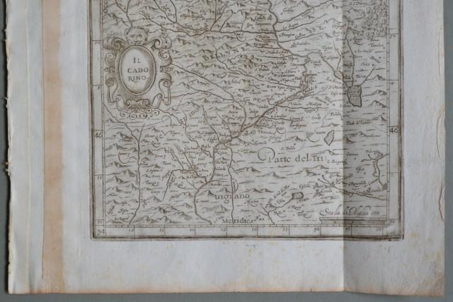 VENETO.  Ano 1650. Bella carta Raffigura il Cadore, parte del Friuli, parte del Bellunese, parte del Feltrino e del Trevigiano.