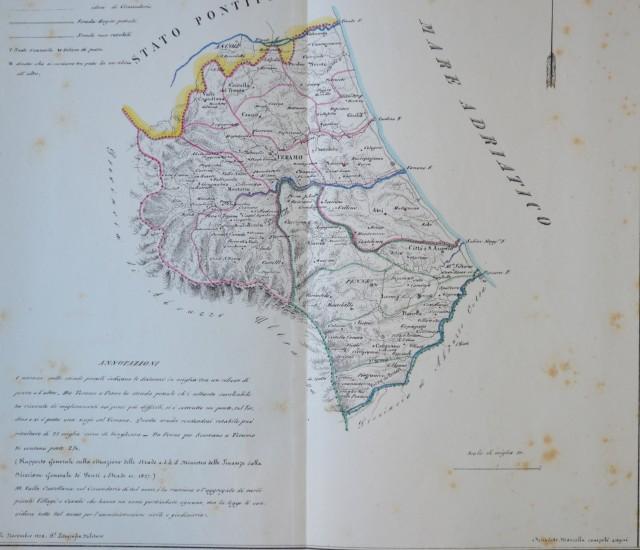 REGNO DI NAPOLI. PROVINCIA DI ABRUZZO ULTRA I'°. Grande carta geografica. Raffigura i distretti di Teramo e Parma.