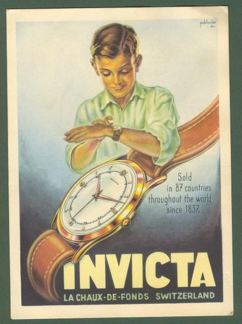 OROLOGI INVICTA. Cartolina pubblicitaria, disegnata a colori.