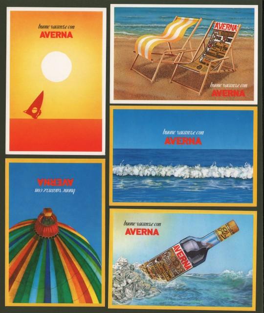 AMARO AVERNA. 5 cartoline non viaggiate a colori