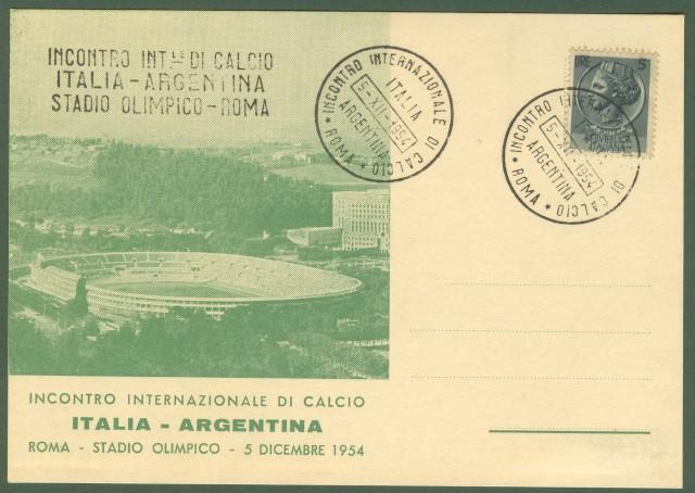 CALCIO. ITALIA - ARGENTINA. Roma, 1954.