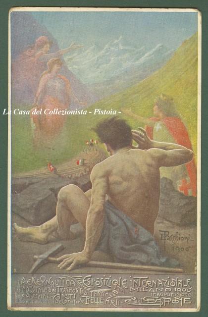 AERONAUTICA. ESPOSIZIONE INTERNAZIONALE DI MILANO 1906. Disegno a colori di E. Pacchioni. Cartolina viaggita nel 1906.