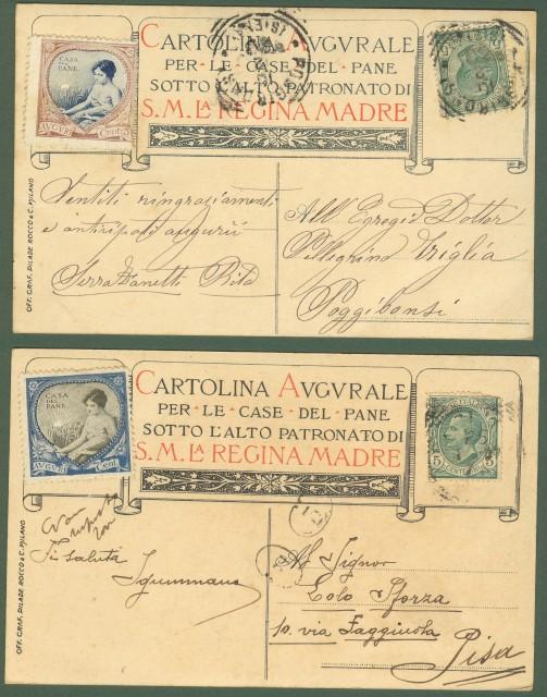 Festa del Pane. Due cartoline viaggiate nel 1907.