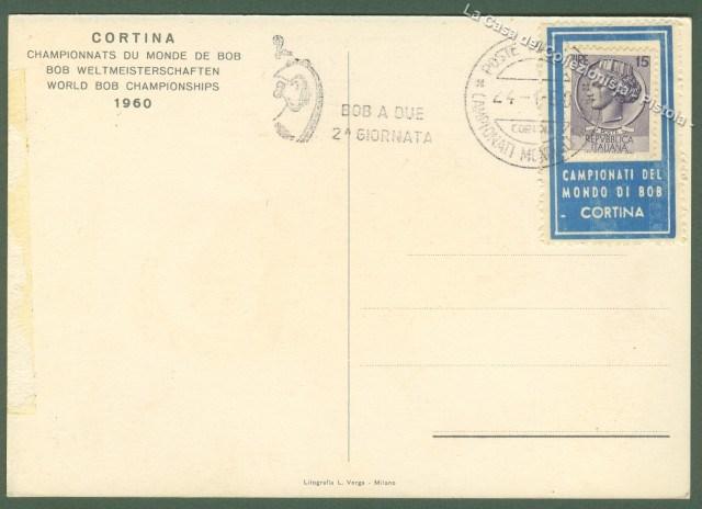 Sport. BOB. Campionati del mondo. Cortina 1960. Cartolina disegnata a colori da Alessandrini.
