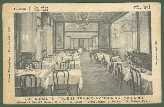 RISTORANTE POCCARDI a Parigi, viaggiatta nel 1925