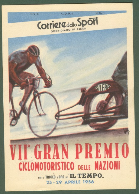 MOTOCICLISMO. VII'° Gran Premio Ciclomotoristico delle Nazioni. Anno 1956. A retro annullo speciale.
