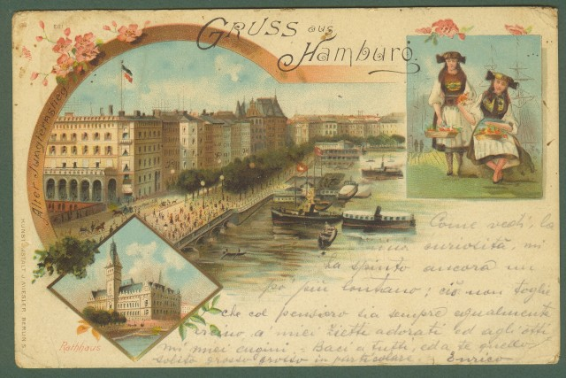 GERMANIA. Gruss aus Hamburg. Cartolina d'epoca viaggiata nel 1897