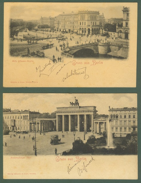 GERMANIA. Gruss aus Berlin. Due cartoline d'epoca inizio '900
