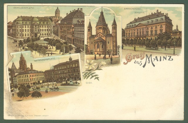 GERMANIA. Gruss aus Mainz. Cartolina d'epoca inizio '900