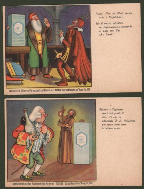 MAGNESIA SAN PELLEGRINO. Due cartoline a colori. Circa 1925, non viaggiate.