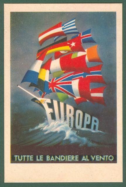 EUROPA. TUTTE LE BANDIERE AL VENTO. Cartolina d'epoca disegnata a colori, circa 1949, non viaggiata
