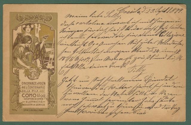 ONORANZE A VOLTA. COMO 1899. Cartolina d'epoca illustrata da Hohenstein.
