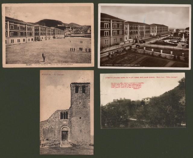 SPOLETO, Perugia. 4 cartoline d'epoca viggiate tra il 1917 e il 1939.