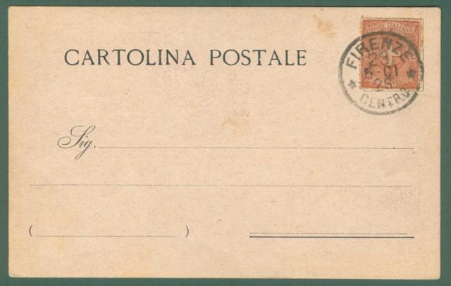 SAVONAROLA. Cartolina d'epoca commemorativa IV Centenario di FRA GIROLAMO SAVONAROLA. Bollo postale Firenze 1901