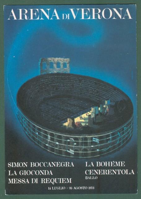 LIRICA. ARENA DI VERONA stagione 1973.  Cartolina d'epoca con bollo speciale