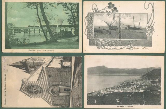Liguria. LAVAGNA, Genova. Quattro cartoline d'epoca (tre viaggiate tra il 1904 e il 1933).