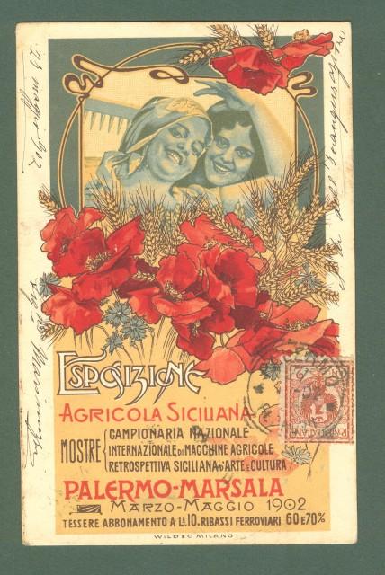 ESPOSIZIONE AGRICOLA SICILIANA. PALERMO - MARSALA 1902. Bella cartolina d'epoca colorata, viaggiata nel 1902.