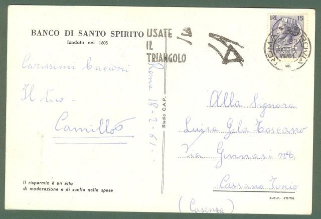 BANCO DI SANTO SPIRITO. Giornata del risparmio. Cartolina d'epoca pubblicitaria viaggiata nel 1961.